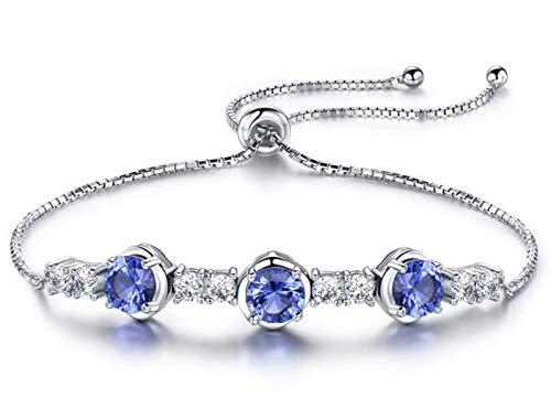 XIRENZHANG 925 Sterling Silber Armband Aquamarin Einstellbar Armband Temperament Light Luxury Armband Schmuck
