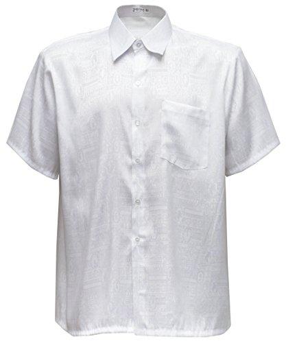 Herrenhemd Kurzarm Jacquard Thai Seide (Weiß, XL)