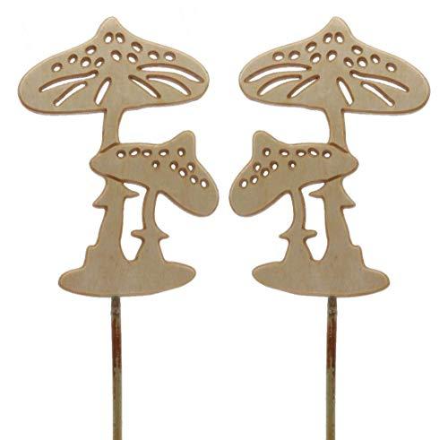 Figur 2x Pilze Gartendeko |Figur Holz |2x Eingelassen |Wetterfest