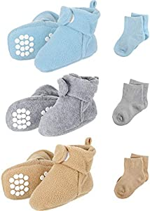 3 Botines de Felpa Bebé, Zapatos con 3 Medias de Algodón, 3 Colores, 0-6 Meses