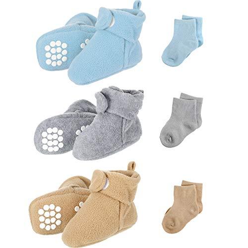 3 Pares de Patucos de Bebés de Vellón Acogedor con 3 Pares de Calcetines de Algodón de Bebés Niñas Niños Pequeños, 3 Colores, 0-6 meses
