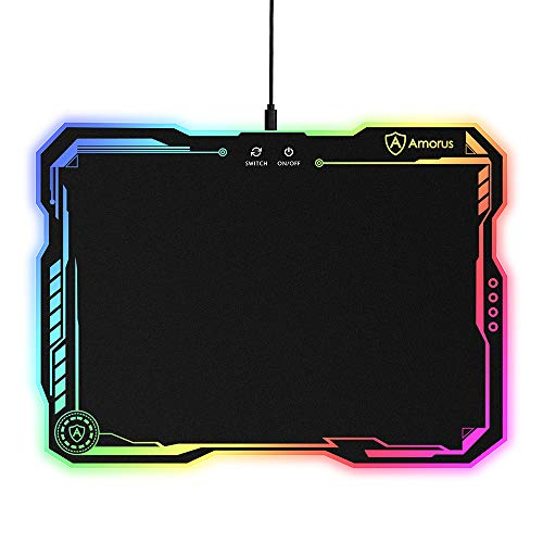 amorus RGB Gaming Mouse Pad, Large Hard Surface LED Mouse Pad Gamer Gifts for Logitech Razer Corsair Gaming Mouse, 11 Lighting Modes & 3 Brightness (14.4 x 10.4 inch)