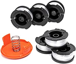 AF-100 Weed Eater Spools and Cap Combo Set, Compatible with Most Black and Decker String Trimmers, Durable and Easy to Install (6 x Spool + 1 x Cap)