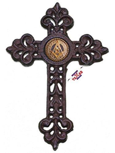 Mason Cast Iron Cross with Masonic Square and Compass Concho 9 1/2 X 6 1/2