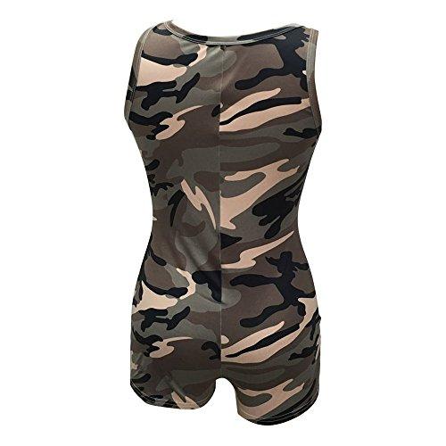 Behkiuoda Women Deep V-Neck Jumpsuit Summer Sleeveless Tunic Bodysuit Camouflage Romper