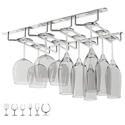 Newthinking Wine Glass Rack Under Cabinet Stainless Steel Stemware Rack Hanging Stemware Holder for Cabinet Kitchen Bar Four Rows