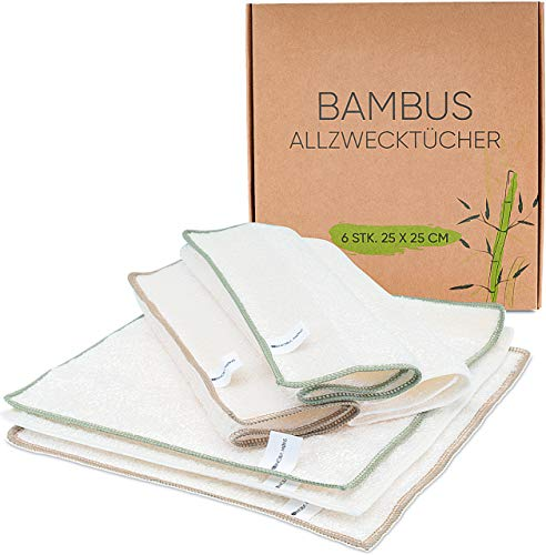 ABNOBΛ MØNS Bambus Allzwecktücher [6er-Set] | nachhaltige Reinigungstücher, Putztücher, Spültücher für Haushalt, Küche, Bad, Glas | 25 x 25 cm