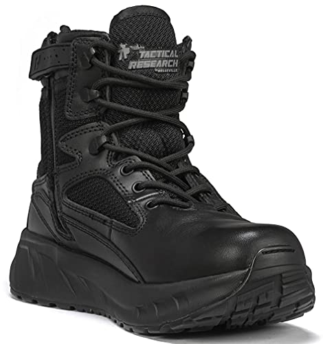 TACTICAL RESEARCH TR Men's MAXX6Z 6' Maximalist Ultra-Cushioned Black Leather Side Zip Tactical Boot for Law Enforcement, EMS, and Security Personnel, Black - 15 R