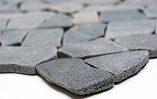 Mosaik-Netzwerk Bruch/Ciot uni Neromarquina Marmor Naturstein Küche, Mosaikstein Format: 15-69x8 mm, Bogengröße: 60 x 100 mm, 1 Handmuster ca. 6x10 cm