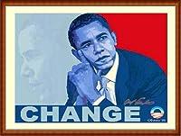 ポスター アームストロング Barack Obama change 額装品 ウッドハイグレードフレーム(ナチュラル)