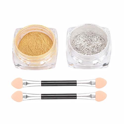 Juego de polvos para uñas Nail Art Mirror Powder 2 cajas, mezcla de plata y oro, polvo de brillo metálico, efecto de espejo para uñas con cepillo