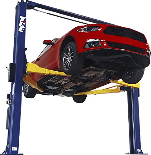 TCE T10000-2OH-33-A Hydraulic Two Post Overhead Auto Hoist Clear Floor Car Lift with Combo Symmetrical and Asymmetrical Support Arms: 5 Ton (10,000 lb) Capacity, Blue
