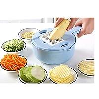 スライサー 6排水バスケットマニュアル野菜カッター、卵セパレータ、ポータブルスライサーチョッパーおろし金キッチンツールで1つの多機能野菜カッターで (Color : Blue)
