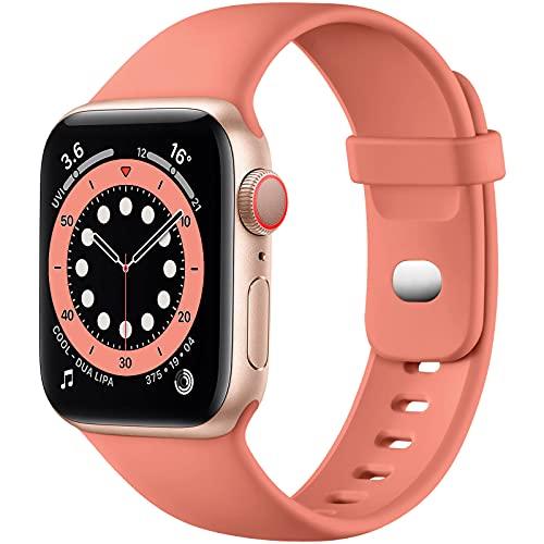 JUVEL Correa Compatible con Apple Watch 40mm 38mm, Correa de Repuesto Deportiva de Silicona Suave Compatible con Apple Watch SE Correa/iWatch Series 6 5 4 3 2 1, Coral