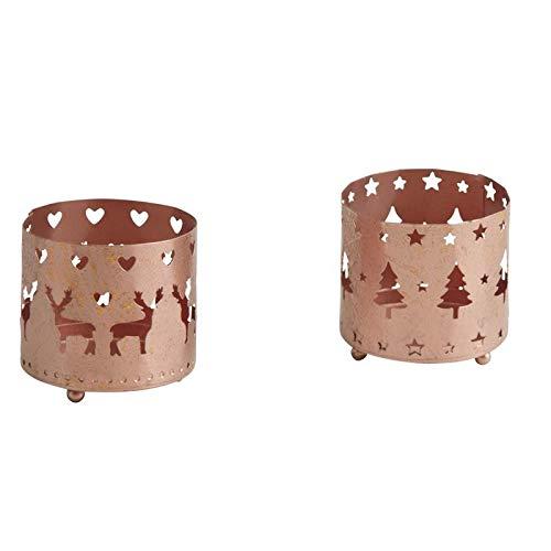 Fede Déco Nature - Portacandela di Natale rotondo, in metallo ramato, motivo: cervo