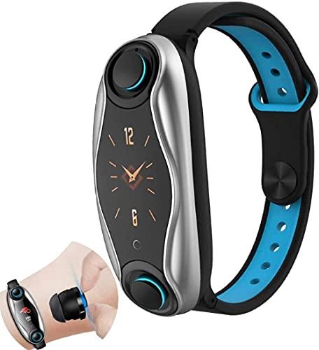 Smart Watch 2 en 1 Smart Band + Bluetooth 5 0 Auriculares Pulsera inteligente con auriculares Frecuencia cardíaca Presión arterial Monitor de sueño