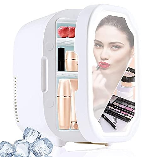 Zxqiang Mini Refrigerador De Belleza para Maquillaje,Refrigerador para El Cuidado De La Piel con 3 Espejos De Luz Led Ajustables,Refrigerador para Cosméticos con Funciones Frío/Calor,White