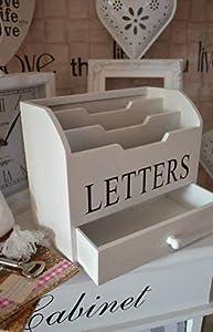 Impression Landhaus Briefbox Vintage Letterbox Schublade LETTERS Shabby Chic