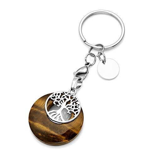 JSDDE Joyas, piedras preciosas naturales, llavero, árbol de la vida, llavero, colgante, chakra, yoga, energía, piedra curativa, amuleto de la suerte