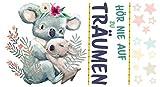 dekodino® Wandtattoo Kinderzimmer Sprüche Aquarell Koala Tierbaby - Träume