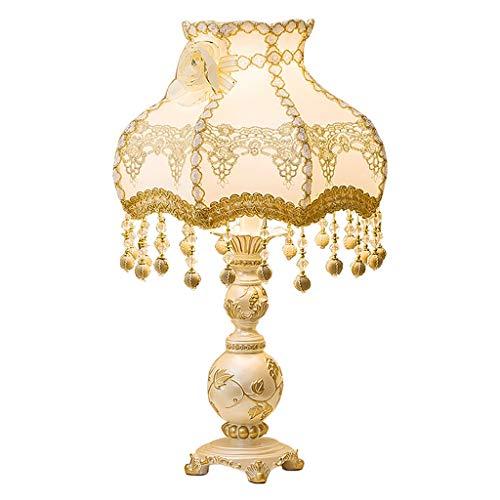 Lámpara de mesa Lámpara de mesa de noche Lámpara de mesa Creativa Gran lujo Minimalista Sala de estar Lámpara de mesilla Lámpara de resina Cuerpo Hecho a mano Encaje Tapizado Paño Lámpara Cubierta Lám