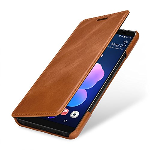 StilGut Book Type Lederhülle kompatibel mit HTC U12+, Cognac