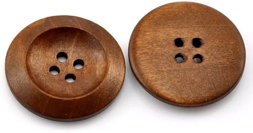 50 PCs Brown Wood Sewing Buttons Scrapbooking 4 Holes Round 3cm(