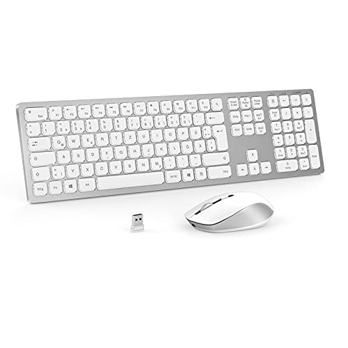 Juego de teclado inalámbrico y ratón, 2,4 G, juego de teclado y ratón con retroiluminación, juego de teclado retroiluminado con disposición QWERTZ para PC, portátil, tableta, plateado y blanco