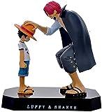 Figura de acción de una Pieza Luffy y Shanks Figura Resina Doll Adornos de Muñeca Regalo de Cumpleaños de Navidad para Niños-Shanks Luffy-Shanks Luffy