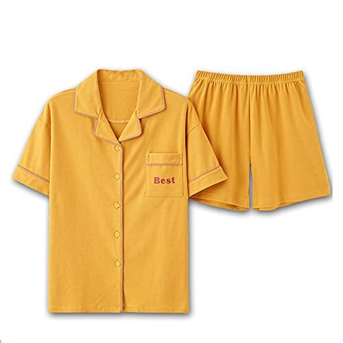 Achnr Las Mangas Cortas de algodón Puro de Verano de Pijamas de Verano se Pueden Usar Fuera del Vestimenta doméstica Multicolor y el Desgaste Casual de Verano (Color : Yellow)