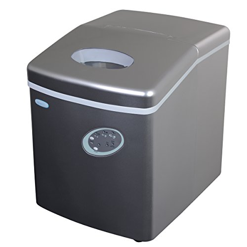 NewAir Portable Ice Maker 28 lb. Daily - Countertop Compact Design - 3 Size Bullet Shaped Ice - AI-100S - Silver