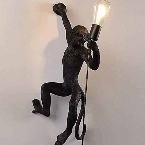 Scimmia in Resina Creativa Lampada, Iluminazione Per Interni, Portalampada Standard E33, Classe di Efficienza Energetica A (Nero - Lampada da Parete Destra)