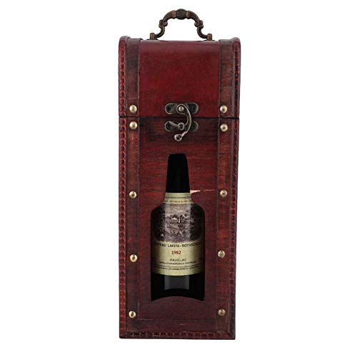 Caja de vino vintage, botella de vino individual botella caja de madera paquete de vino portátil caja regalo para ceremonia de aniversario boda inaugural Navidad compleja