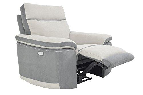 Muebletmoi - Sillón Relax eléctrico con reposapiés elevable y respaldo reclinable - Colección Cargo
