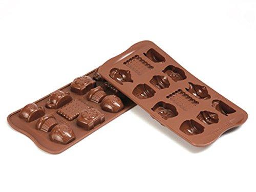 Silikomart 22.117.77.0065 SCG17 Moule pour Chocolat Thème Teatime 15 Cavités Silicone Marron