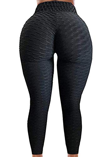 A AGROSTE Womens High Waist Yoga Capris Pants Tummy Control Workout Ruched Butt Lifting Leggings Textured Booty Tights