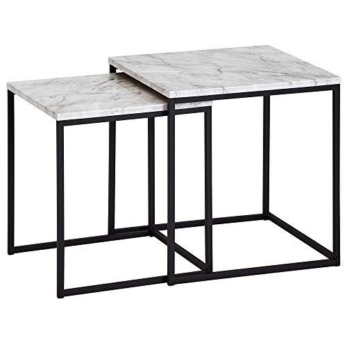 FineBuy Design Beistelltisch 2er Set Marmor Optik Weiß | Couchtisch 2 teilig Tischgestell Schwarz | Kleine Wohnzimmertische | Moderne Satztische