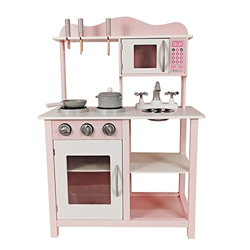 ATAA Cocina de Madera para niños con Accesorios - Rosa - Cocinita de Juguete para niños y niñas