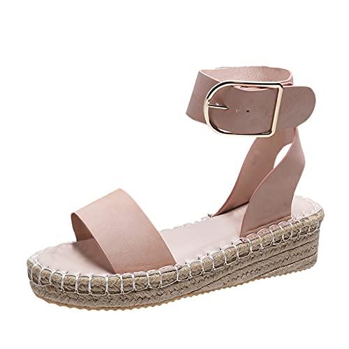 Luckycat Zapatos de Mujer Hebilla de Una Palabra Sandalias Romanas Tejidas con Boca de Pez de Suela Gruesa Sandalias de Playa Ligeras Y Transpirables de Verano