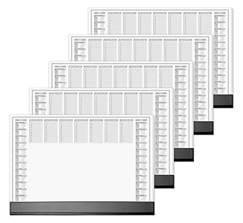 SIGEL HO365 Papier-Schreibunterlage mit Schutzleiste, 5er Pack, ca. DIN A2 - extra groß, 2-Jahres-Kalender, 40 Blatt