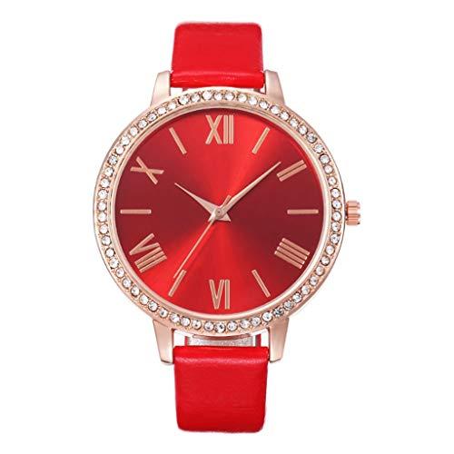 Uhr Armbanduhren Männer Damenuhren Hansee Mode Beiläufig Damengürteluhr Mit Diamanten Roman Scale Quarzuhr Uhren Wrist Watches(Rot)