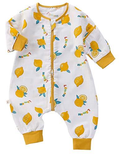 Chilsuessy Baby Sommer Schlafsack mit abnehmbaren Ärmeln 1 Tog 100% Baumwolle Kleinkind Schlafsack mit Füße Frühling Schlafsack für Junge und Mädchen, Zitrone, XXL/Baby Höhe 105-115cm