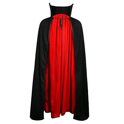 Jila Adult Devil Vampire Costume Cloak Medieval Long Black Red Reversible Halloween Cosplay Cape (L 48' Length)