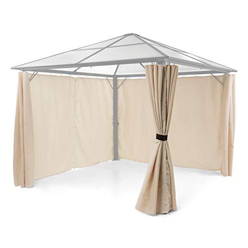 blumfeldt Pantheon Solid Sky Pavillon-Seitenwände - Zubehör-Set: 4 Seitenwände, Blick- und Windschutz, Material: 140 g/m² Polyester, wasserabweisend, beige