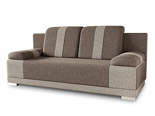 Sofa mit Schlaffunktion Imola - Schlafsofa mit Bettkasten, Couch, Bettsofa, Polstersofa, Klappsofa, Sofagarnitur (Beige (Sawana 02 + Sawana 27))