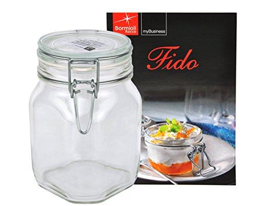 Bormioli Rocco Fido - Bocal en verre à armature métallique - Différentes tailles au choix, Verre, 1,0 Liter