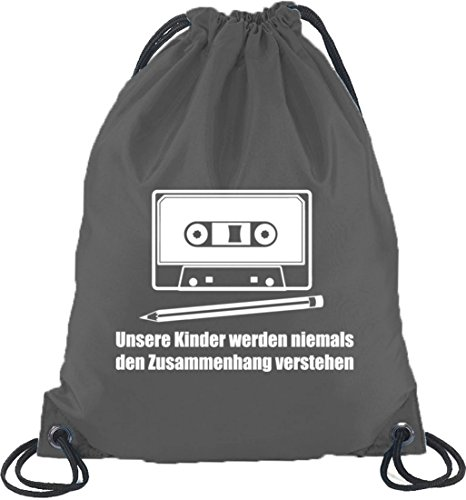 Shirtstreet24, Bleistift - Kassette, Turnbeutel Rucksack Sport Beutel, Größe: onesize,Dunkelgrau