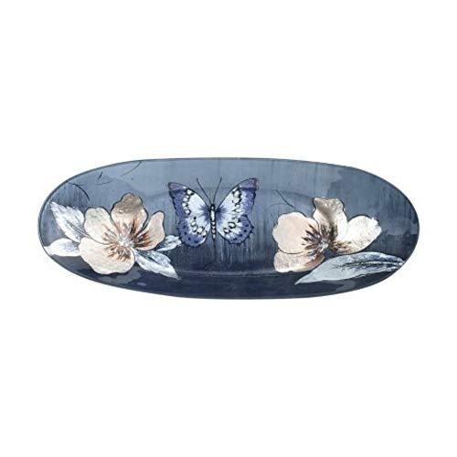 CAPRILO. Plato Ovalado Decorativo de Cristal Multicolores Mariposa-Flores Vajillas y Cuberterías. Decoración...