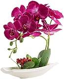Flores artificiales de orquídeas con maceta de alta calidad Bonsái de Phalaenopsis para decoración hogar de fiestas (Rojo)