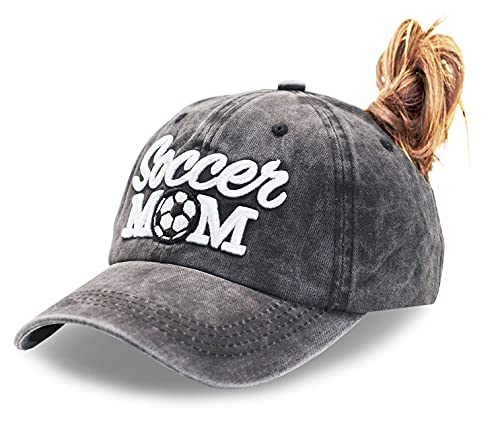 MANMESH HATT Soccer Mom Ponytail Baseball Cap Messy Bun Vintage Washed Distressed Twill Plain Hat for Women (Soccer Mom 3D Black, One Size)